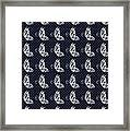 Fluttering Butterflies - Navy And White Framed Print