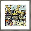Flying Taxicabs, 1900s French Postcard Framed Print