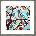 Folk Bird In Tree Framed Print