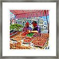 Food Booth In Valparaiso Square-chile Framed Print