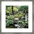 Footbridge Across A Pond, Kyoto Framed Print