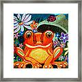 Frog And Flowers Framed Print