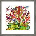 Funny Flowers On Green Plant Framed Print