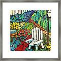 Garden With Lamp By Peggy Johnson Framed Print