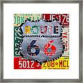 Get Your Kicks On Route 66 Recycled Vintage State License Plate Art By Design Turnpike Framed Print