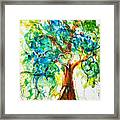 Gold Heart Valentine Tree Watercolor N Ink Framed Print