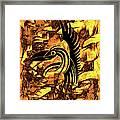 Golden Flight Contemporary Abstract Framed Print