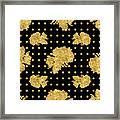 Golden Gold Floral Rose Cluster W Dot Bedding Home Decor Art Framed Print