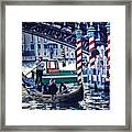 Gondola In Venice On Grand Canal Framed Print