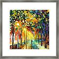 Green Dreams - Palette Knife Oil Painting On Canvas By Leonid Afremov Framed Print