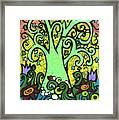 Green Tree With Purple Tulips Framed Print