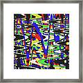 Green Yellow Blue Red Black And White Abstract Framed Print