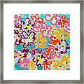 Happy Abstract Flowers Framed Print
