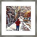 Winter Walk After The Snowfall Best Montreal Street Scenes Paintings Canadian Artist Paysage Quebec Framed Print