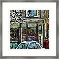 Achetez Les Meilleurs Scenes De Rue Montreal St Henri Cafe Original Montreal Street Scene Paintings Framed Print