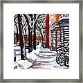 Canadian Winter Scene Paintings Original Art Verdun Montreal Achetez  Paysages De Quebec C Spandau Framed Print