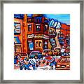 Hockey At Fairmount Bagel Framed Print
