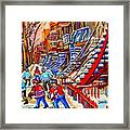 Hockey Game Near The Red Staircase Framed Print by Carole Spandau