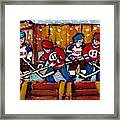 Hockey Rink Paintings New York Rangers Vs Habs Original Six Teams Hockey Winter Scene Carole Spandau Framed Print