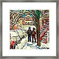 Original Art For Sale Montreal Petits Formats A Vendre Walking To School On Snowy Streets Paintings Framed Print