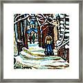 Buy Original Paintings Montreal Petits Formats A Vendre Scenes Man Shovelling Snow Winter Stairs Framed Print