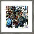 Promenade Au Centre Ville Rue Ste Catherine Montreal Winter Street Scene Small Paintings  For Sale Framed Print