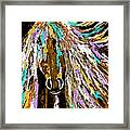 Horse Abstract Brown And Blue Framed Print