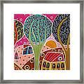 Houses Trees Whimsical Landscape Framed Print