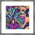 Hummingbird And Stained Glass Hearts Framed Print