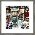 J J Joubert Vintage Milk Truck At Marvin's Grocery Montreal Memories Street Hockey Best Hockey Art Framed Print
