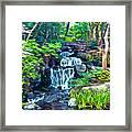 Japanese Waterfall Garden Framed Print