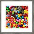 Jar Spilling Bubblegum With Candy Framed Print