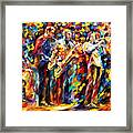 Jazz Band - Palette Knife Oil Painting On Canvas By Leonid Afremov Framed Print