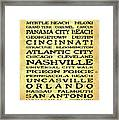 Jimmy Buffett Margaritaville Locations Black Font On Yellow Brown Texture Framed Print