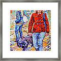 Lady  And Dog Framed Print
