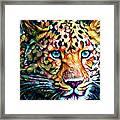Leopard Cat Flowers Framed Print