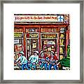 Les Scenes De Pointe St Charles Les Produits Smoked Meat Avec Partie De Hockey Framed Print