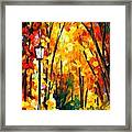Light Of The Forest - Palette Knife Oil Painting On Canvas By Leonid Afremov Framed Print
