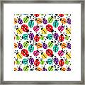 Lots Of Crayon Colored Ladybugs Framed Print