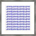 Love In Blue Neon Framed Print