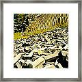 Low Angle View Of Devils Post Pile Framed Print
