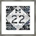 M22 Michigan Highway Symbol Recycled Vintage Great Lakes State License Plate Logo Art Framed Print by Design Turnpike