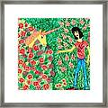 Meeting In The Rose Garden Framed Print by Sushila Burgess