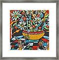Mexican Vase With Spring Flowers Framed Print
