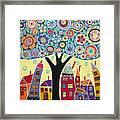 Mixed Media Collage Tree And Houses Framed Print