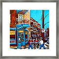 Montreal City Scene Hockey At Wilenskys Framed Print
