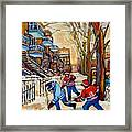 Montreal Hockey Game With 3 Boys Framed Print