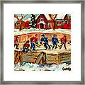 Montreal Hockey Rinks Urban Scene Framed Print