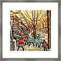 Montreal Street Hockey Paintings Framed Print