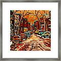 Montreal Streets In Winter Framed Print